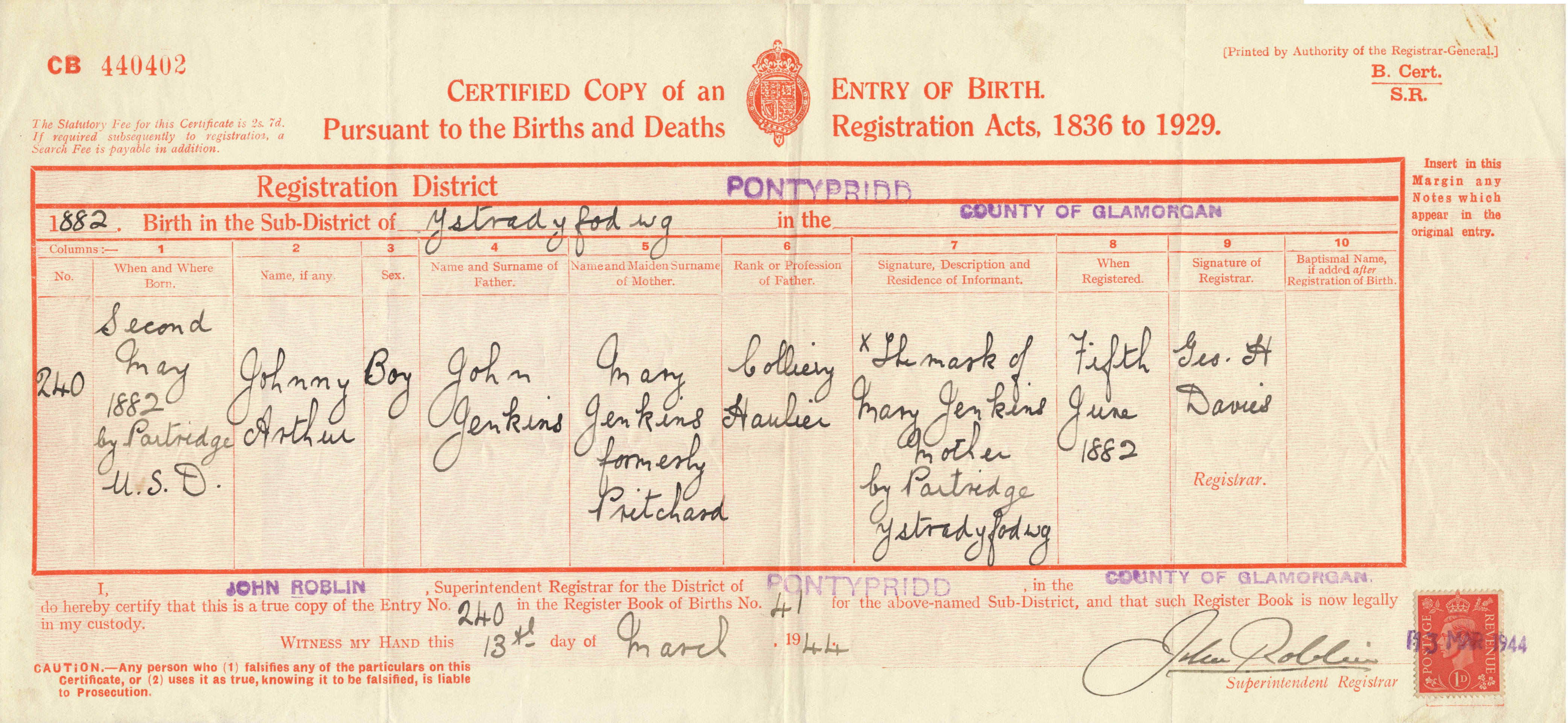 John arthur jenkins photos and other information birth certificate xflitez Image collections